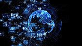 Global communication network concept. Social media. Worldwide business. 3D illustration.