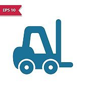 Forklift Icon. Professional pixel-aligned icon in glyph style.