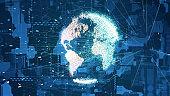 Global communication network concept. Digital transformation. 3D illustration.