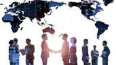 Global communication network concept. Worldwide business. Human resources.