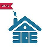 Cabin, Log Cabin Icon. Professional pixel-aligned icon in glyph style.