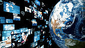 Visual contents concept. Social networking service. Streaming video. Global communication network. Elements of this image furnished by NASA. 3D rendering.