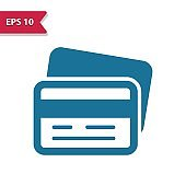 Credit Card, Debit Card Icon. Professional pixel-aligned icon in glyph style.