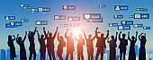 Social networking service concept. Group of people. SNS marketing. App notification.