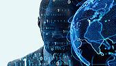 AI (Artificial Intelligence) concept. Global communication network concept. Digital transformation.