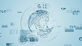 Global communication network concept. Statistics of business. Marketing. Accounting.
