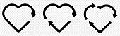 Set of recycle heart symbol