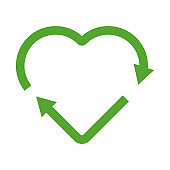 Green heart shape recycle icon