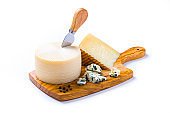 Various kinds of cheese isolated on white background