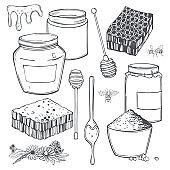 Honey set. Vector illustration.
