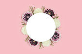 Wreath made of dahlia flowers on a pink background.