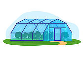 Garden plant in greenhouse, vector illustration. People cartoon character gardening at nature, man woman person have agriculture hobby.