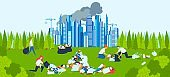 Environmental pollution, volunteers collect garbage, people clean background, design, in cartoon style vector illustration.