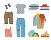 Cartoon Color Dirty and Clean Clothes Icons Set. Vector