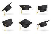 Graduation cap vector set. Univercity education hat illustration.