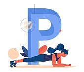 Large letter P and woman doing plank exercise. Vector sport character dedicated to healthy lifestyle and weight loss isolated on white.