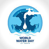 world water day with drop water falling from the tap to river in circle blue layer style vector design