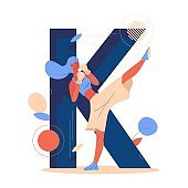 Woman training kickboxing sport. Large letter K on background. Vector concept illustration for female martial arts school or club isolated on white