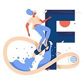 Flyboarding concept illustration with female character in the air and capital letter F on background. Extreme sport and healthy lifestyle woman