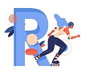 Roller skater with large letter R good for extreme sport and female school. Blue capital abc character decorated with leaves and geometric shapes