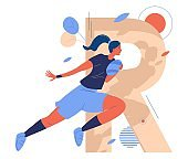 Large letter R and woman with ball running while rugby game. Female healthy character in active jumping pose. Concept sport illustration