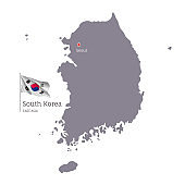 Silhouette of South Korea country map