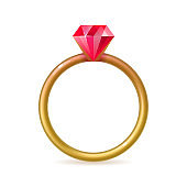 Gold ring with red gemstone