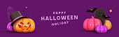 Happy Halloween. Horizontal banner for website and social networks. Realistic 3d pumpkins in hat, emotions on his face scary smile. Creative poster, party flyer design, brochure. Vector illustration