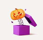 Happy Halloween. Orange pumpkins with emotion on his face scary smile, jumps from out surprise boxes. Realistic 3d design. Creative Decor for poster, web banner, flyer, brochure. Vector illustration