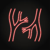 Neon blood vessels icon in line style
