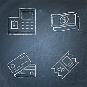 Payment and discount icon set on chalkboard