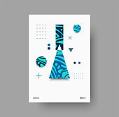 Colorful abstract geometric magazine backdrop on white background. Set of modern poster vector designs for marketing and leaflets. Blue abstract shapes on paper. Contemporary wall art vector poster