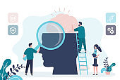 Mental health care treatment concept. Specialist doctor work to give psychology therapy. Tiny people, teamwork.