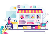 Disabled woman with laptop sits at desk. Female character orders goods from online store. Different products on computer screen