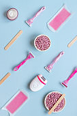 Pattern of epilation means - epilator, wax strips and razor. Spa cosmetic treatments.