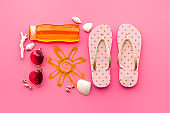 Tropical summer vacation background. Flip flops with towel and sunglasses