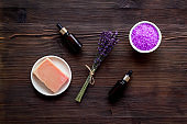 Aromatherapy wellness background with lavender cosmetics