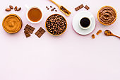Coffee and chocolate background with space for text
