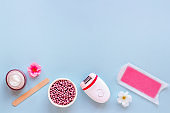 Set for epilation - epilator with cosmetic spa treatments. Depilatory concept.