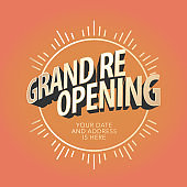 Grand opening or re-opening vector illustration, banner, background
