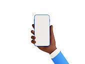 Smartphone mockup in african american hand 3d render illustration on white background.