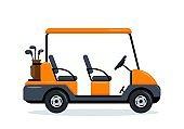 Orange Golf Cart with four seats.