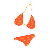 Vector simple isolated summer icon. Women's swimwear or split bikini. Underwear for swimming, sunbathing and relaxing on the beach.