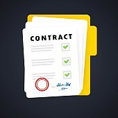 Contract document. Folder icon. Paper documents in folder with stamp and text. Confirmed or approved document. Vector on isolated background. EPS 10