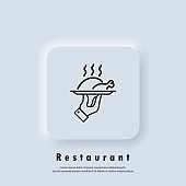 Restaurant icon. Food tray. Chicken on a tray line icon. Roasted poultry meat hot steaming dish. Vector. Neumorphic UI UX white user interface web button. Neumorphism
