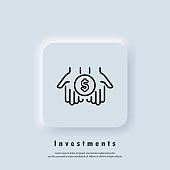 Investments icon. Dollar in palms thin line icon. Simple hand with a coin. Money transfer icon. Vector. Neumorphic UI UX white user interface web button. Neumorphism