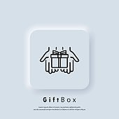 Gift icon. Gift box icon. Present for anniversary, birthday, christmas, new year. Vector. Neumorphic UI UX white user interface web button. Neumorphism