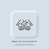 Save environment icon. Eco safe sign. Symbol of natural products. Vector. Neumorphic UI UX white user interface web button. Neumorphism