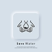Water drop logo. Natural aqua. Water drop icon in hand. Saving water is an environmental concept. Vector. Neumorphic UI UX white user interface web button. Neumorphism