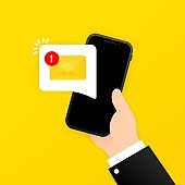 New email notification on mobile phone, smartphone screen. Hand holds a mobile phone with envelope on the screen. Vector on isolated background. EPS 10